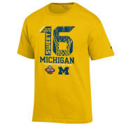 Champion University of Michigan Basketball ''Sweet 16'' Yellow Tee
