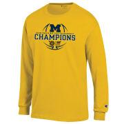 Champion University of Michigan Basketball Big Ten Champions Yellow Long Sleeve Tee