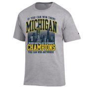 Champion University of Michigan Basketball Big Ten Tournament Champions ''Empire State'' Gray Tee