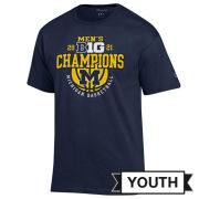 Champion University of Michigan Basketball Youth Big Ten Regular Season Champions Navy Tee