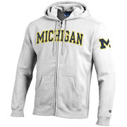 Champion University of Michigan Heritage White Full Zip Hooded Sweatshirt