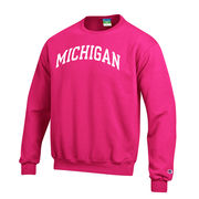 Champion University of Michigan Pink Basic Crewneck Sweatshirt