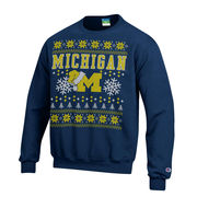 Champion University of Michigan Navy Santa Hat Ugly Holiday Sweatshirt