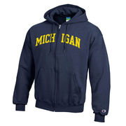 Champion University of Michigan Navy Power Blend Full Zip Hooded Sweatshirt