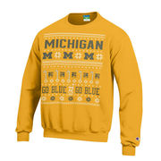 Champion University of Michigan Yellow Ugly Holiday Crewneck Sweatshirt