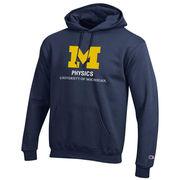 Champion University of Michigan Physics Navy Hooded Sweatshirt