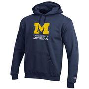 Champion University of Michigan Signature Mark Navy Hooded Sweatshirt