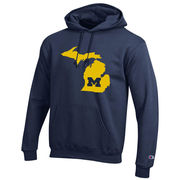 Champion University of Michigan State of Michigan Navy Hooded Sweatshirt