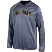 Champion University of Michigan Heather Navy Convergence Crewneck Sweatshirt