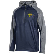 Champion University of Michigan Navy/ Gray Color Block Half-Zip Pullover Hooded Sweatshirt