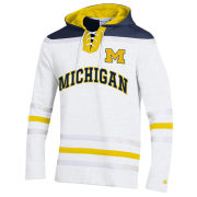 Champion University of Michigan Hockey White Heritage Lace-Up Hooded Sweatshirt