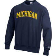 Champion University of Michigan Navy Reverse Weave Crewneck Sweatshirt