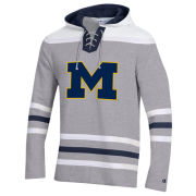 Champion University of Michigan Hockey Gray Lace-Up Heritage Hooded Sweatshirt