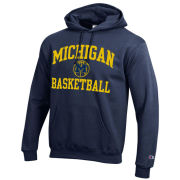 Champion University of Michigan Basketball Navy Powerblend Tackle Twill Hooded Sweatshirt