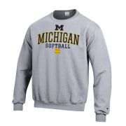 Champion University of Michigan Softball Gray Crewneck Sweatshirt