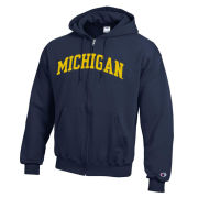 Champion University of Michigan Navy Versa Twill Full Zip Hooded Sweatshirt
