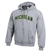 Champion University of Michigan Gray Versa Twill Full Zip Hooded Sweatshirt