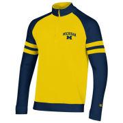 Champion University of Michigan Heritage Yellow Super Fan Striped 1/4 Zip Sweatshirt