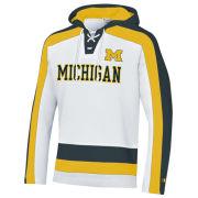 Champion University of Michigan Hockey White Heritage Lace-Up Hooded Sweatshirt