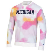 Champion University of Michigan Multi-Color Cloud Dye Crewneck Sweatshirt