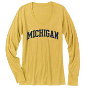 Champion University of Michigan Ladies Mimosa Long Sleeve V-Neck Tee