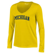 Champion University of Michigan Women's Yellow Long Sleeve V-Neck Tee