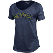 Champion University of Michigan Ladies Heather Navy Triumph V-Neck Tee