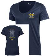 Champion University of Michigan Bicentennial Women's Navy V-Neck Tee