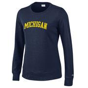 Champion University of Michigan Ladies Navy University Crewneck Sweatshirt