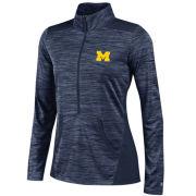 Champion University of Michigan Ladies Heather Navy Infinity Deep Zip Pullover
