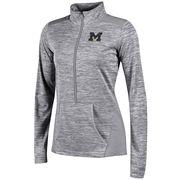 Champion University of Michigan Ladies Heather Gray Infinity Deep Zip Pullover