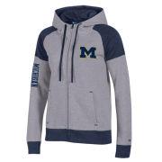 Champion University of Michigan Women's Heritage Gray/Navy Color Block Full Zip Hooded Sweatshirt