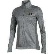 Champion University of Michigan Women's Gray Marathon Deep Zip Performance Pullover