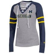 Champion University of Michigan Women's Gray/Navy SuperFan Lace-Up Sweatshirt