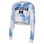 Champion University of Michigan Women's Blue Cloud Dye Cropped Crewneck Sweatshirt