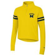Champion University of Michigan Women's Heritage Yellow Super Fan Striped Cropped Micro Zip Sweatshirt