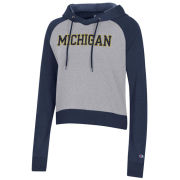 Champion University of Michigan Women's Navy/ Gray Triumph Cropped Triblend Hooded Sweatshirt