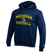 Champion University of Michigan Youth Navy Football Hooded Sweatshirt