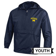 Champion University of Michigan Youth Navy Packable Half-Zip Pullover Jacket