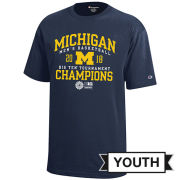 Champion University of Michigan Basketball Big Ten Tournament Champions Youth Navy Tee