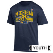 Champion University of Michigan Basketball Final Four Youth Navy Four Team Tee