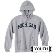 Champion University of Michigan Youth Gray Basic Hooded Sweatshirt