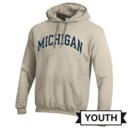 Champion University of Michigan Youth Oatmeal Basic Hooded Sweatshirt