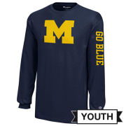 Champion University of Michigan Youth Navy Block ''M'' with ''Go Blue'' Long Sleeve Tee