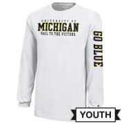 Champion University of Michigan Youth White Long Sleeve Tee