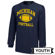 Champion University of Michigan Football Youth Navy Long Sleeve Tee
