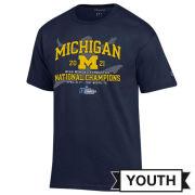 Champion University of Michigan Women's Gymnastics Youth Navy National Champions Tee