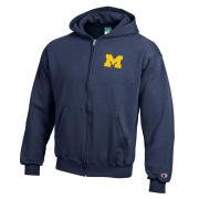Champion University of Michigan Youth Navy Full Zip Hooded Sweatshirt