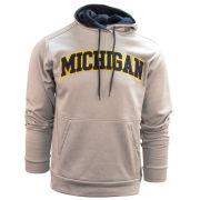 Knights Apparel University of Michigan Gray Tackle Twill Performance Hooded Sweatshirt