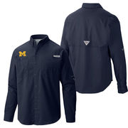 Columbia University of Michigan Navy Tamiami Long Sleeve Fishing Shirt
